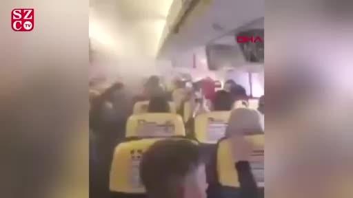 Uçakta panik anları! Bir anda dumanla doldu