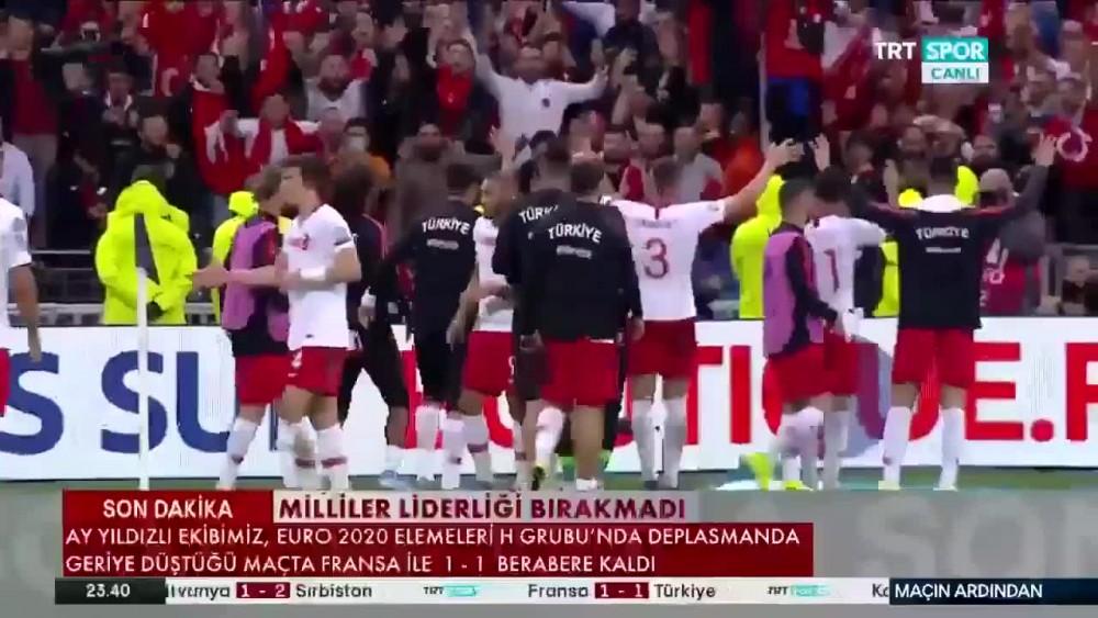 İşte Fransa Türkiye maçında Milli Takımımızın yayınlanmayan Asker selamı görüntüleri